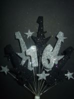 Rock guitar 16th birthday cake topper decoration in black and silver - free postage